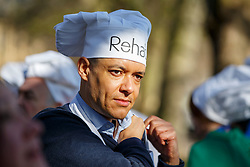 © Licensed to London News Pictures. 28/02/2017. London, UK. Labour MP CLIVE LEWIS gets ready to compete with Lords and members of media race at the annual Rehab Parliamentary Pancake Race outside the Parliament on Shrove Tuesday, 28 February 2017. Photo credit: Tolga Akmen/LNP