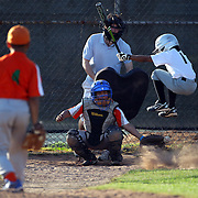 A young batter takes evasive action at a wild pitch during the Norwalk Little League baseball competition at Broad River Fields, Norwalk, Connecticut. USA. Photo Tim Clayton