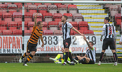 Alloa Athletic's Alan Trouten (10) cele scoring their goal.  Half time : Dunfermline 1 v 1 Alloa Athletic, Irn Bru cup game played 13/10/2018 at Dunfermline's home ground, East End Park.