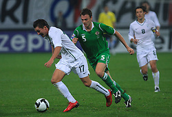 Andraz Kirm (17) and Jonathan Evans at the fourth round qualification game of 2010 FIFA WORLD CUP SOUTH AFRICA in Group 3 between Slovenia and Northern Ireland at Stadion Ljudski vrt, on October 11, 2008, in Maribor, Slovenia.  (Photo by Vid Ponikvar / Sportal Images)