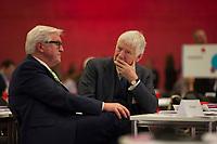 DEU, Deutschland, Germany, Berlin, 10.12.2015: Bundesaussenminister Frank-Walter Steinmeier (SPD) und der ehemalige Bundesinnenminister Otto Schily (SPD) beim Bundesparteitag der SPD im CityCube.