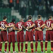 Trabzonspor's players during their Turkish soccer superleague match Bursaspor between Trabzonspor at Ataturk Stadium in Bursa Turkey on Saturday, 22 October 2011. Photo by TURKPIX