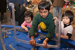 United States, Washington, Bellevue, KidsQuest Children's Museum, boys and girls building pipe structure in Waterways exhibit