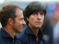 04.07.2014, Maracana, Rio de Janeiro, BRA, FIFA WM, Frankreich vs Deutschland, Viertelfinale, im Bild Trainer Joachim Loew, right, and his assistant Hansi Flick from Germany versus France // during quarterfinals between France and Germany of the FIFA Worldcup Brazil 2014 at the Maracana in Rio de Janeiro, Brazil on 2014/07/04. EXPA Pictures © 2014, PhotoCredit: EXPA/ Eibner-Pressefoto/ Cezaro<br /> <br /> *****ATTENTION - OUT of GER*****