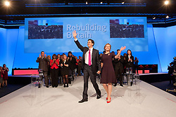 © Licensed to London News Pictures. 02/10/2012. Manchester, UK . Ed Miliband and his wife Justine Thornton after he delivers his speech to the Labour Party Conference at Manchester Central . Photo credit : Joel Goodman/LNP