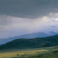 MONTANA. Fall snow squall over Pioneer Mountains, near Whitehall.  Rocky Mountains.
