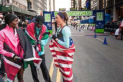 Kipyego, Sambu, Huddle talk together after race