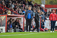 Forest Green Rovers manager, Mark Cooper on the sideline during the EFL Sky Bet League 2 match between Stevenage and Forest Green Rovers at the Lamex Stadium, Stevenage, England on 21 October 2017. Photo by Adam Rivers.