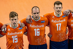 Gijs van Solkema of Netherlands, Wouter Ter Maat of Netherlands, Michael Parkinson of Netherlands in action during the CEV Eurovolley 2021 Qualifiers between Croatia and Netherlands at Topsporthall Omnisport on May 16, 2021 in Apeldoorn, Netherlands
