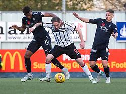 Falkirk's Myles Hippolyte, Dunfermline's Declan McManus and Falkirk's Joseph McKee. Falkirk 1 v 1 Dunfermline, Scottish Championship game played 4/5/2017 at The Falkirk Stadium.