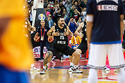 NANJING,CHINA:SEPTEMBER 5th 2019.FIBA World Cup Basketball 2019 Group phase match.Group F. New Zealand vs Greece. Shooting Guard, Ethan RUSBATCH of NZ does the Haka to the Greek players.<br /> Photo by Jayne Russell / www.PhotoSport.nz