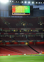 Football - 2017 / 2018 Europa League - Group H: Arsenal vs. FC Koln<br /> <br /> The scoreboard informs the few people the game has been delayed by one hour to an empty stadium, at The Emirates.<br /> <br /> COLORSPORT/ANDREW COWIE