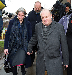 © Licensed to London News Pictures. 02/03/2016. Ampthill, UK. ALISON and RAY JOHNSON leave a pre-inquest review into the death of their son Conservative party activist Elliott Johnson in Ampthill, Bedfordshire. Mr Johnson was found dead on a railway line in Bedfordshire a few weeks after he raised concerns about the way he had been treated in the Conservative youth wing. Photo credit: Peter Macdiarmid/LNP