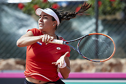 April 21, 2018 - La Manga, Murcia, Spain - Montserrat Gonzalez of Paraguay in action in her match against  Garbine Muguruza of Spain during day one of the Fedcup World Group II Play-offs match between Spain and Paraguay at Centro de Tenis La Manga Club on April 21, 2018 in La Manga, Spain  (Credit Image: © David Aliaga/NurPhoto via ZUMA Press)