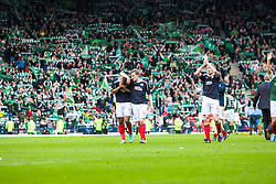 Falkirk's Lyle Taylor, Falkirk's David Weatherston and Falkirk's Darren Dods at the end..Hibernian 4 v 3 Falkirk, William Hill Scottish Cup Semi Final, Hampden Park...