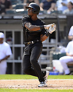 CHICAGO - AUGUST 25:  Tim Anderson #7 of the Chicago White Sox bats against the Texas Rangers during Players Weekend on August  25, 2019 at Guaranteed Rate Field in Chicago, Illinois.  (Photo by Ron Vesely)  Subject:   Tim Anderson
