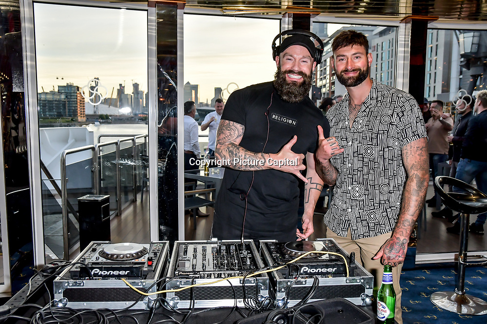 Fran Cosgrave is a DJ at the Driving holiday experience hosts yacht party at The Sunborn Yacht, Royal Victoria Dock on 31 May 2019, London, UK.