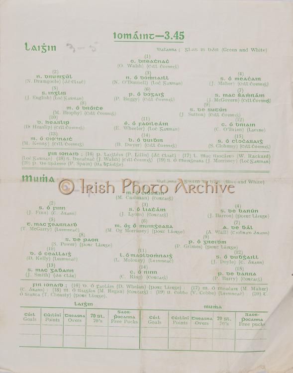 Interprovincial Railway Cup Football Cup Final,  17.03.1958, 03.17.1958, 17th March 1958, referee P MacDiarmuda, Connacht 2-07, Munster 0-08,.Interprovincial Railway Cup Hurling Cup Final,  17.03.1958, 03.17.1958, 17th March 1958, referee S O Fallcobair, Leinster 3-05, Munster 3-07, Hurling Team Leinster, O Walsh, N Drumgoole, N O'Donnell, J Maher, J English, P Buggy, J McGovern, M Brophy, J Sutton, D Heaslip, E Wheeler, C O'Brien, M Kenny, B Dwyer, S Clohessy, Hurling Team Munster, M Cashman, J Finn, J Lyons, J Barron, T McGarry, M Og Morrissey, A Wall, S Power, P Grimes, D Kelly, L Moloney, J Doyle, J Smith, C Ring, P Barry,  ..