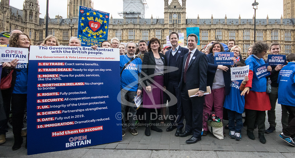 London, March 29th 2017. Open Britain protesters demonstrate outside Parliament as Prime Minister Theresa May triggers Article 50, beginning formal divorce proceedings as Britain leaves the European Union. The protesters demand that those in charge of the brexit negotiations are held to account:. PICTURED: Former Education Secretary Nicky Morgan, Former deputy Prime Minister and Labour MP Chris Lesley join the protesters for a photo opportunity. ©Paul Davey<br /> FOR LICENCING CONTACT: Paul Davey +44 (0) 7966 016 296 paul@pauldaveycreative.co.uk