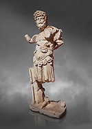 Roman statue of Emperor Septimus Severus. Marble. Perge. 2nd century AD. Inv no 3266 . Antalya Archaeology Museum; Turkey. Against a grey background .<br /> <br /> If you prefer to buy from our ALAMY STOCK LIBRARY page at https://www.alamy.com/portfolio/paul-williams-funkystock/greco-roman-sculptures.html . Type -    Antalya     - into LOWER SEARCH WITHIN GALLERY box - Refine search by adding a subject, place, background colour, museum etc.<br /> <br /> Visit our ROMAN WORLD PHOTO COLLECTIONS for more photos to download or buy as wall art prints https://funkystock.photoshelter.com/gallery-collection/The-Romans-Art-Artefacts-Antiquities-Historic-Sites-Pictures-Images/C0000r2uLJJo9_s0