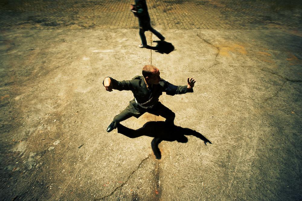 practicing kungfu