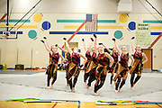 Shadow Indoor Percussion and Armada Winterguard perform at schools in the Oregon School District for Fine Arts Day in Oregon, Wisconsin on April 9, 2014.