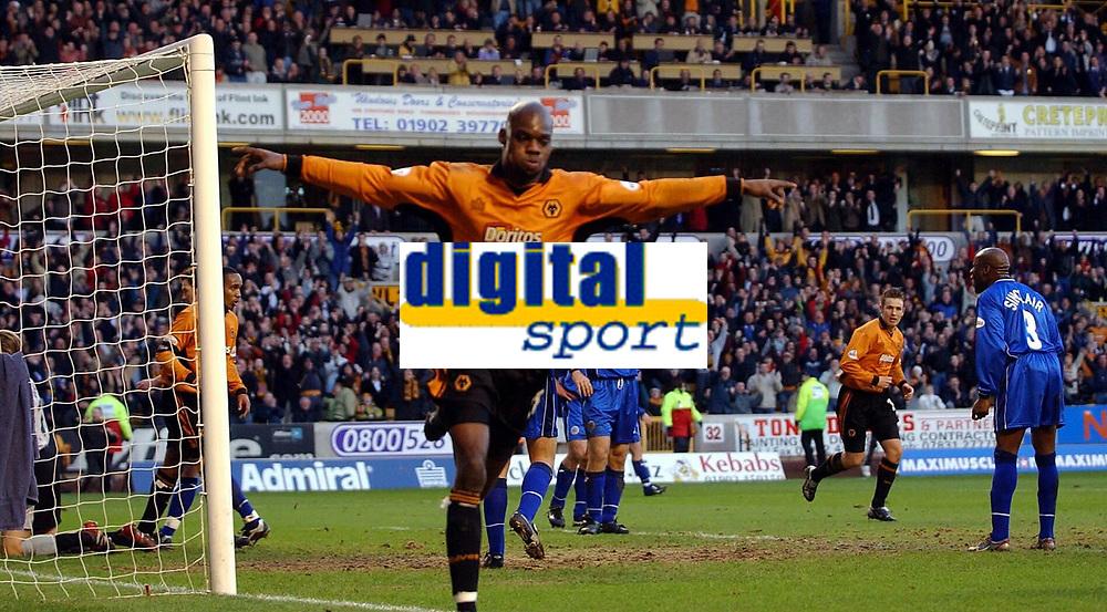 Fotball - FA Cup - 4. runde - 25.01.2003<br />Wolverhampton v Leicester 4-1<br />George Ndah jubler for scoring<br />Foto: Robin Parker, Digitalsport