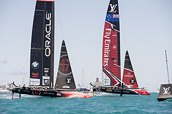 June 25, 2017 - France - The Great Sound, Bermuda, 25th June 2017. Emirates Team New Zealand and Oracle Team USA race for the start of race seven. Day four of racing in the America's Cup presented by Louis Vuitton. (Credit Image: © Panoramic via ZUMA Press)