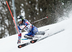 """Robby Kelley (USA) competes during 1st Run of FIS Alpine Ski World Cup 2017/18 Men's Slalom race named """"Snow Queen Trophy 2018"""", on January 4, 2018 in Course Crveni Spust at Sljeme hill, Zagreb, Croatia. Photo by Vid Ponikvar / Sportida"""