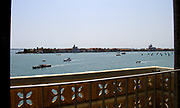 view across the Lagoon from the balcony of the Doge's Palace Courtyard, Venice. Built in Venetian Gothic style the palace was the residence of the Doge of Venice (the supreme authority of the rublic of Venice). It is now open as a museum.