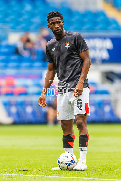 Bournemouth midfielder Jefferson Lerma (8) in action during the pre-match warm-up at the EFL Sky Bet Championship match between Cardiff City and Bournemouth at the Cardiff City Stadium, Cardiff, Wales on 18 September 2021.