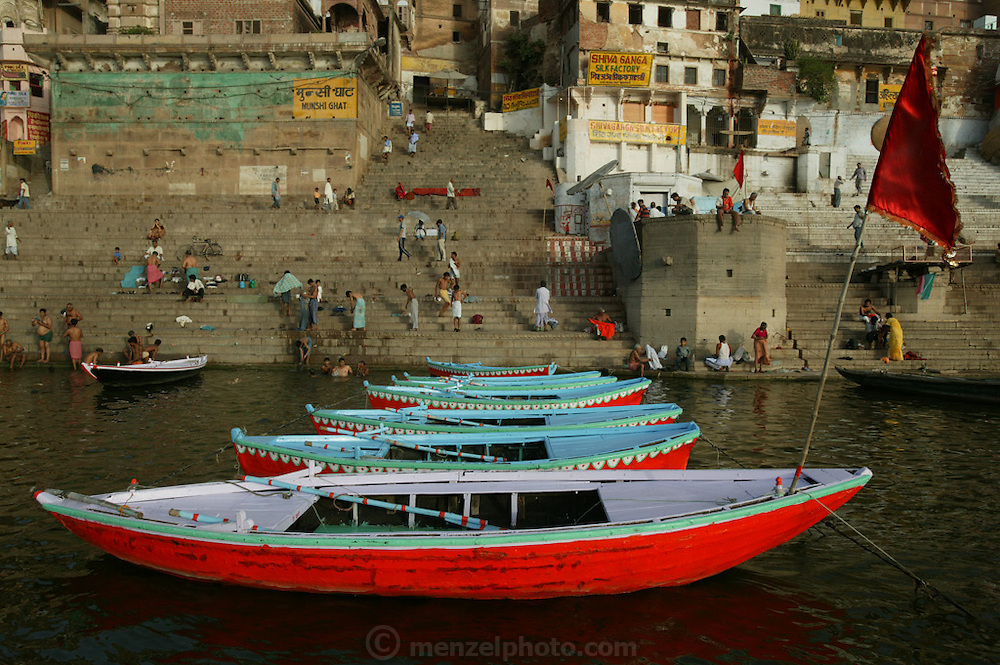 Munshi Ghat on the Ganges River, Varansi, India.
