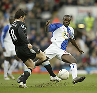 Photo: Aidan Ellis.<br /> Blackburn Rovers v Manchester City. The FA Cup. 11/03/2007.<br /> Rovers Aaron Mokoena (R) puts City's Joey Barton under pressure