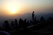 Turkey July 28 2011: View of a sunset on top of Nemrut Dagi.  Copyright 2011 Peter Horrell