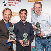 NLD/Amsterdam/20190414 - Uitreiking Annie M.G. Schmidt-prijs 2019, Patrick Nederkoorn, Tom Dicke (muziek), en Jan Beuving winnen de Annie M.G. Schmidtprijs