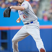 NEW YORK, NEW YORK - June 30: Pitcher John Lackey #41 of the Chicago Cubs pitching during the Chicago Cubs Vs New York Mets regular season MLB game at Citi Field on June 30, 2016 in New York City. (Photo by Tim Clayton/Corbis via Getty Images)