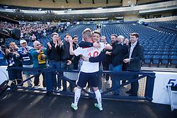 Falkirk's Craig Sibbald cele with fans at the end.<br /> Hibernian 0 v 1 Falkirk, William Hill Scottish Cup semi-final, played 18/4/2015 at Hamden Park, Glasgow.