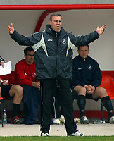 Photo: Paul Thomas.<br /> Blackpool v Swansea City. Coca Cola League 1. 15/04/2006.<br /> <br /> Swansea manager Kenny Jackett throws his arms in the air during their loss to Blackpool.