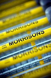 Morrisons supermarket trolley handles, England, United Kingdom.
