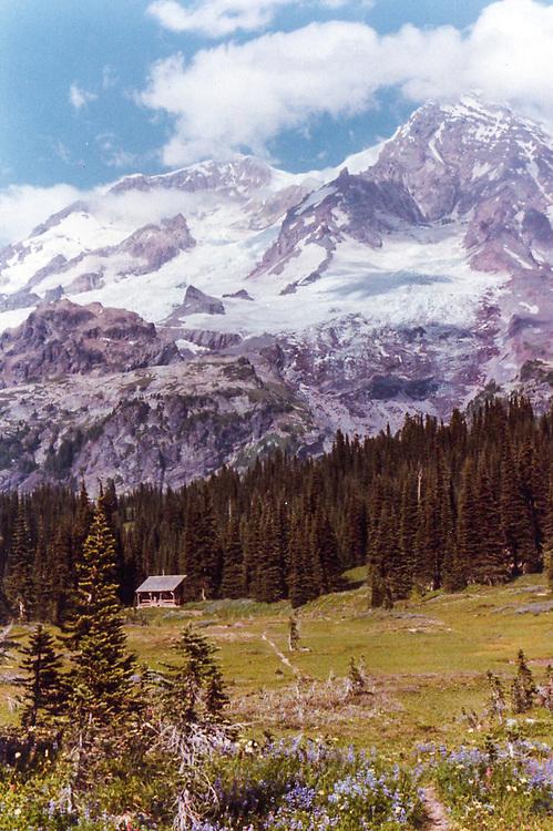 Backwoods ranger station, Indian Henry's Hunting Ground, Mount Rainier National Park. Photo taken summer of 1980, first day of hiking the Wonderland Trail around Rainier.