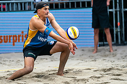 Esteban Grimalt CHI in action during the last day of the beach volleyball event King of the Court at Jaarbeursplein on September 12, 2020 in Utrecht.