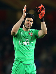 Arsenal goalkeeper Petr Cech applauds the crowd of the final whistle