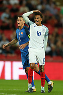 Dele Alli of England looks on. FIFA World cup qualifying match, European group F, England v Slovakia at Wembley Stadium in London on Monday 4th September 2017.<br /> pic by Andrew Orchard, Andrew Orchard sports photography.