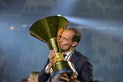May 19, 2019 - Turin, Turin, Italy - Massimiliano Allegri head coach of Juventus FC lifts the trophy of Scudetto  2018-2019 at Allianz Stadium, Turin  (Credit Image: © Antonio Polia/Pacific Press via ZUMA Wire)