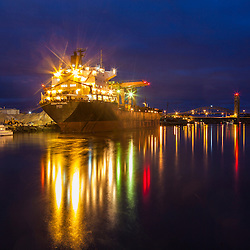 A cargo ship docked on the Piscataqua River in Portsmouth, New Hampshire.