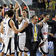 Fenerbahce Ulker's players celebrate victory during their Euroleague Basketball Top 16 Game 2 match Fenerbahce Ulker between Power Electronics Valencia at Sinan Erdem Arena in Istanbul, Turkey, Thursday, January 27, 2011. Photo by TURKPIX