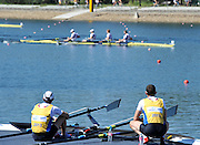 Sydney, Australia.  GBR LM2X, left , Adam FEEMAN-PASK and Richard CHAMBERS Gold Medalist, Men's Lightweight Double Sculls.  sit on the dock to watch the final of the Lightweight men's four, RIchard Chambers brother rowing at bow in the GBR LM4-..FISA World Cup I. and  Sydney International Rowing Regatta. Sydney International Rowing Centre, Penrith Lakes, NSW. Sunday   24/03/2013 [Mandatory Credit. Peter Spurrier/Intersport Images]..