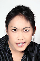 studio shot portrait cute funny young expressive women asian grimacing woman