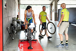 Eugenia Bujak of Slovenia with Domen Humar and Gorazd Penko at warming up during Women Time Trial at UCI Road World Championship 2020, on September 24, 2020 in Imola, Italy. Photo by Vid Ponikvar / Sportida