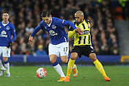 Ashley Chambers of Dagenham & Redbridge looks to tackle Muhamed Besic of Everton. The Emirates FA cup, 3rd round match, Everton v Dagenham & Redbridge at Goodison Park in Liverpool on Saturday 9th January 2016.<br /> pic by Chris Stading, Andrew Orchard sports photography.